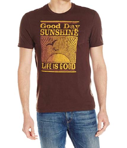 Large Life is Good Men's Pocket Sleep Tee Shirt Good Day Sunshine T-Shirt NEW