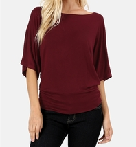 Dolman Sleeve Tops, Dolman Top with Banded Bottom, Burgundy, Colbert Clothing