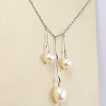 Necklace White Gold 18K,3 Hanging,Pearls Fishing,round and Ovals,Chain Rolo ' image 2