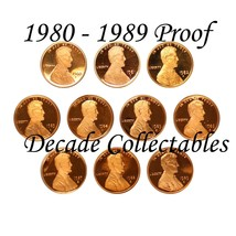 1980 - 1989 S Lincoln Penny PROOF DECADE GEM COMPLETE SET AIRTIGHT CAPSULE - $24.49