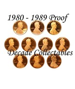 1980 - 1989 S Lincoln Penny PROOF DECADE GEM COMPLETE SET AIRTIGHT CAPSULE - €21,05 EUR
