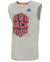 Adidas Boys Size 6 Grey Graphic Print Cotton Tank Top AA6021 NEVER BACK ... - $12.86