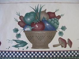 Navy Teal & Burgundy Collander of Vegetables on... - $12.86