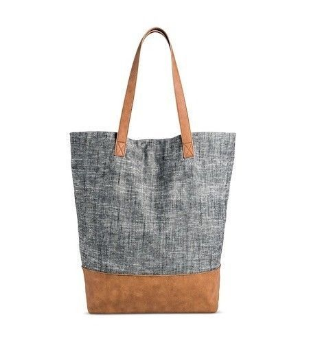 NWT Merona Women's Blue/Gray Magnetic Closure Tote Handbag