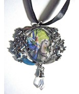 """Anne Stokes Realm Of Enchantment Artwork Pendant & Crystal On 16"""" Black ... - $24.70"""