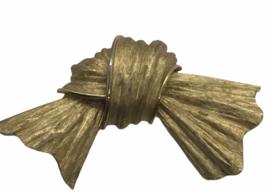 Vintage Trifari Bow Brooch Brushed Gold Tone  - $24.74