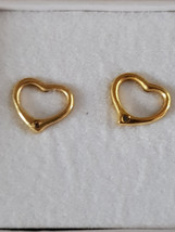 per pair gold heart studs earrings  with butterfly clips comes in gift box