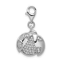 Sterling Silver CZ Ladybug with Lobster Clasp Charm Pendant 0.95 Inch - $37.43