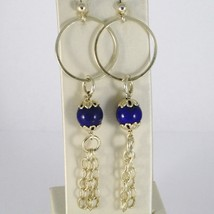 EARRINGS SILVER 925 LAMINATED GOLD HANGING WITH LAPIS LAZULI PENCILS BLUE image 1