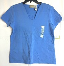 LIZ CLAIBORNE LIZWEAR Women's NWT Blue Short Sleeve Top Shirt Sz: Medium - $18.95