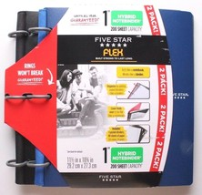 "Five Star Flex Black Blue 2 Pack 1"" Hybrid Notebinders 11 1/2 X 10 3/4 Inch NEW!"
