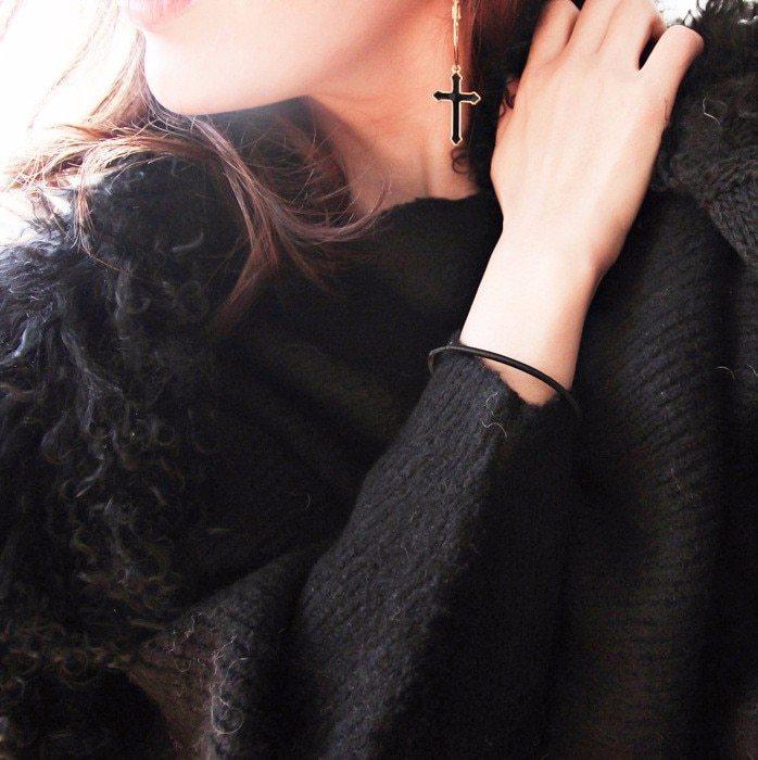 Black Cross Earrings For Women 2018 Classic Fashion Jewelry Big Earrings image 4