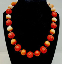 Vintage Old Chinese Carved Cinnabar Necklace In vermilion color - $88.11