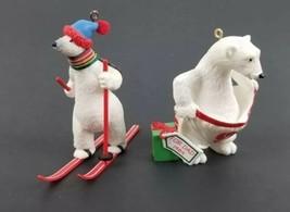(Lot of 2) Going`Cross Country 1988 & Dad Polar Bear Hallmark Ornament 1989 Vtg - $16.44