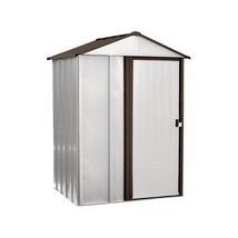 Storage Shed Steel 5 x 4 x 6.5 Feet Eggshell Coffee Finish Extreme Weath... - $224.53