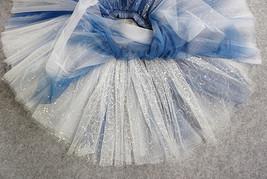 Women Girl Frozen Tutu Skirt Silver Blue Layered Puffy Tutu Skirt image 9