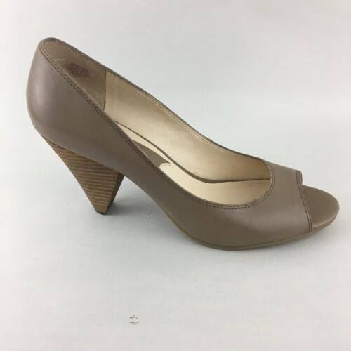 Nine West Pumps Peep Toe Beige Stacked Heel 10M