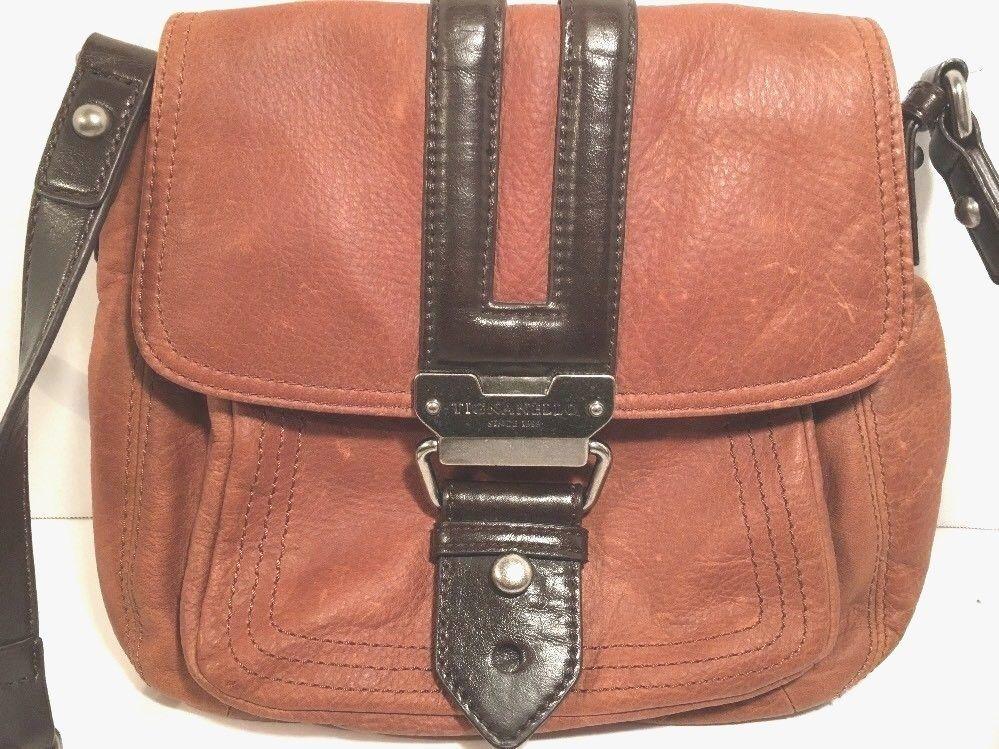 Tignanello Small Brown Two-Tone Leather Crossbody Shoulder Bag-Distressed - $35.88