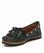 COACH Roccasin Black Metallic Leather Women Moccasin Shoes US 9 EU 39.5 ... - $125.00