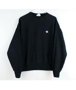 Champion Reverse Weave Crew Neck Sweatshirt Men's Small Black Big Logo S... - $39.59