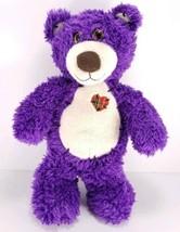 Purple Teddy Bear Plush Stuffed Animal First & Main Heart Patch Glitter ... - $14.84