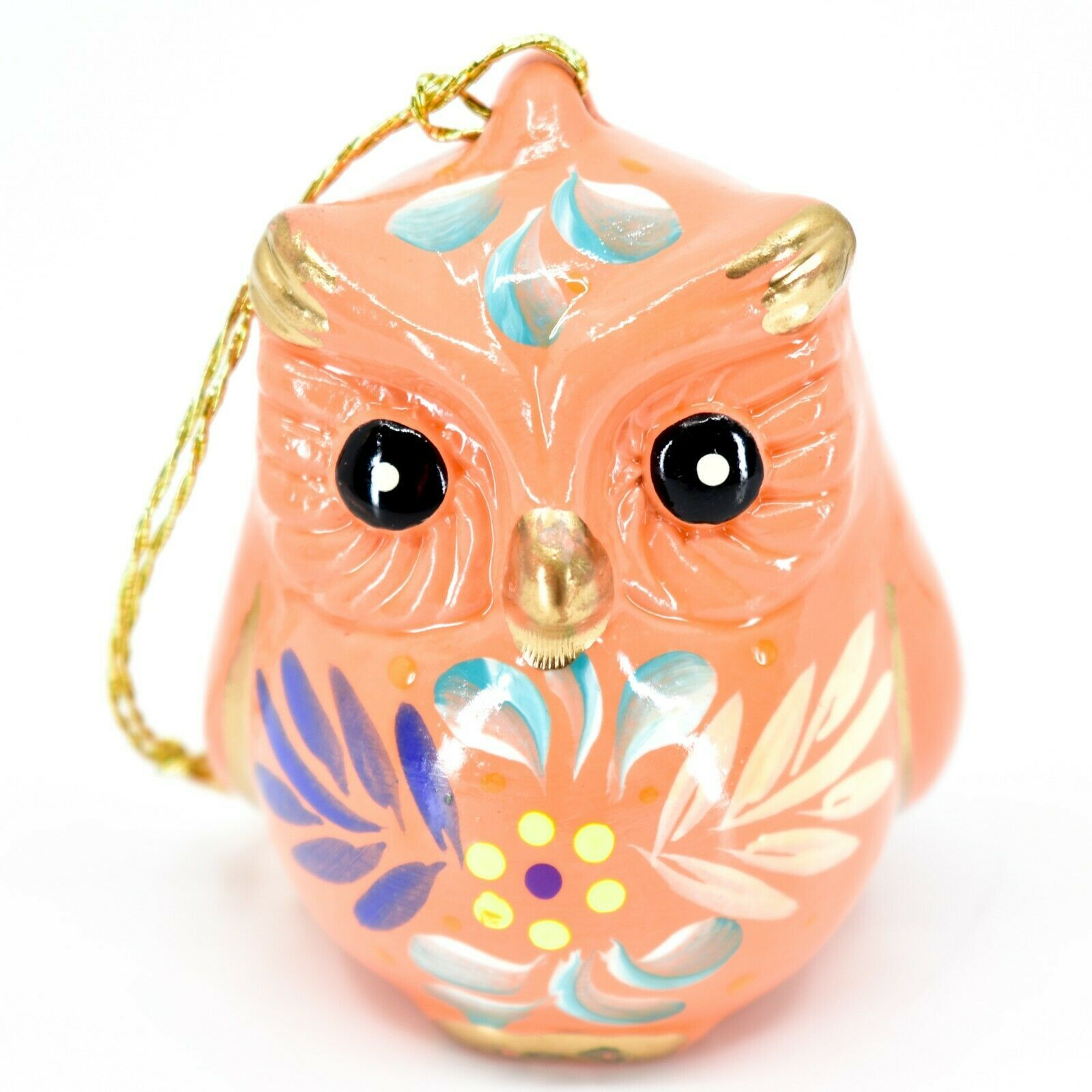 Handcrafted Painted Ceramic Peach Pink Owl Confetti Ornament Made in Peru