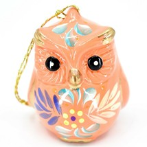Handcrafted Painted Ceramic Peach Pink Owl Confetti Ornament Made in Peru image 1