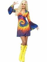 1960s Tie Dye Costume, 1960's Groovy Fancy Dress, UK Size 16-18 - $38.83