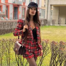 High Quality Red Plaid Slim Fit Blazer & High Waist Double Breasted Shorts Suit image 4