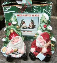 Wood Carved Santa Fitz and Floyd Ceramic Salt Pepper Shakers 1995 - $12.99