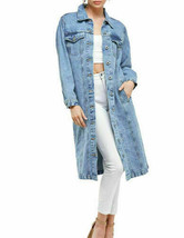 Women's Long Casual Maxi Length Denim Cotton Coat Oversize Jean Jacket w/ Defect