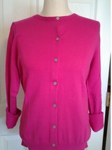 Lands End  Women's LS Supima Crew Cardigan Sweater Brilliant Fuchsia New - $39.99
