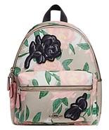 Coach Mini Charlie Backpack Camo Rose Floral Purse Tote Bag Satchel  - $127.71