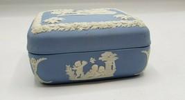Wedgwood Blue, Jasperware, 1950's Trinket Box, Chariot & Horses, Cherubs - $17.82
