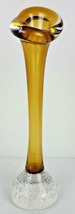 Vintage Jack in the Pulpit Amber Yellow Glass Controlled Bubbles Vase 8.... - $30.00