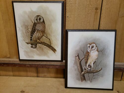 "Primary image for 2 Vintage Richard Hinger Retro Barn Owls Artwork/Print 7.5""x9.5"" on Wood Panel"