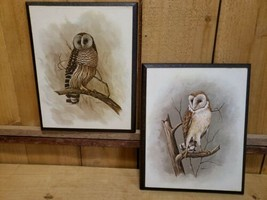 "2 Vintage Richard Hinger Retro Barn Owls Artwork/Print 7.5""x9.5"" on Wood... - $38.80"