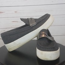 Michael Kors Canvas Casual Sneaker Dark Gray Shoes Slip Ons Size 10/41M ... - $53.99