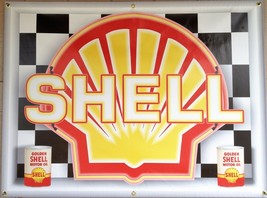 Shell Gas Service Station Neon Effect Printed Banner New Garage Art Sign 3X4 - $53.96