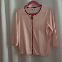 Talbots Charming Cardigan Sweater Size MP Pink Button Front Spring 3/4 S... - $19.80