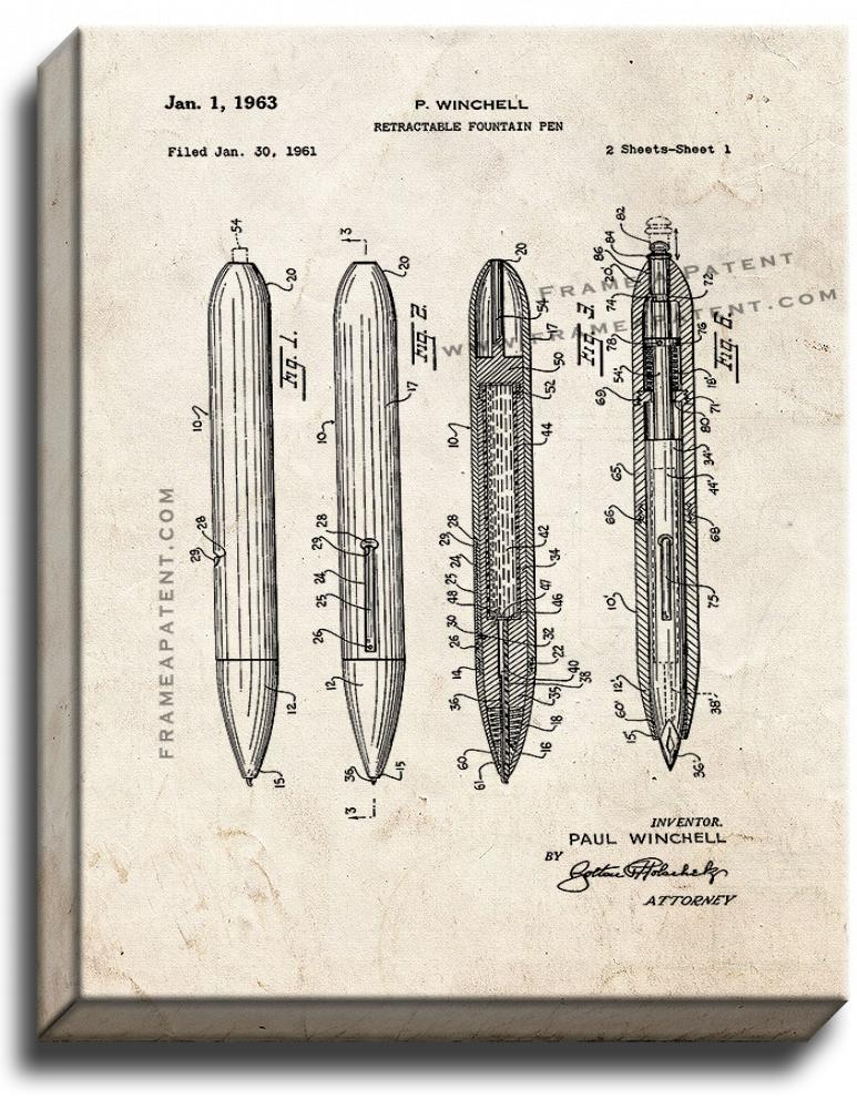 Primary image for Retractable Fountain Pen Patent Print Old Look on Canvas