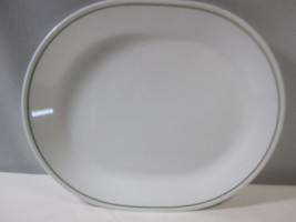 "Blue Wreath Corning Corelle Platter 12.25"" x 10"" White Green Band Discon... - $13.98"