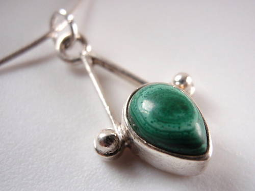 Primary image for Trendy MALACHITE Teardrop 925 Sterling Silver Necklace Corona Sun Jewelry