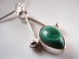 Trendy MALACHITE Teardrop 925 Sterling Silver Necklace Corona Sun Jewelry - $15.80