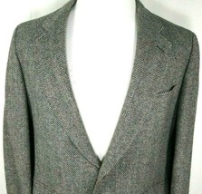 Cricketeer Mens Sport Coat Size 40 Regular Gray Black Herringbone 100% P... - $39.55