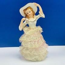 Ucago figurine japan napco victorian porcelain lace dress ceramics sculp... - $48.24