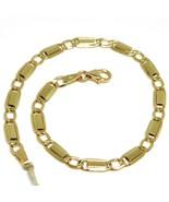 Bracelet Yellow Gold 18K 750, Jersey Flat Rectangular And Oval Alternati... - $449.92