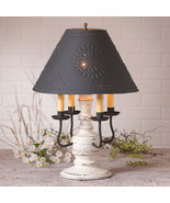 COLONIAL TABLE LAMP & PUNCHED TIN SHADE Distressed Vintage White 3 Light... - $372.95