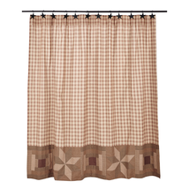BRADLEY Shower Curtain - 72x72 - Farmhouse - Khaki/Brown/Muted Green- VHC Brands