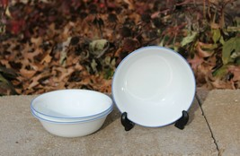 CORELLE Blue Rim Cereal Bowls ~ Memphis or Spring Blue Pattern ~ Lot of 3 - $24.99